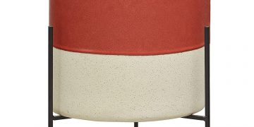 Rivet Mid-Century Ceramic Planter with Stand, 17″ H, Salmon Color