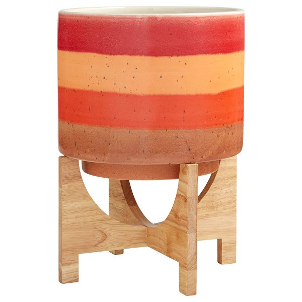 modern ceramic planter with bamboo stand