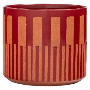 rivet mid century round planter red and orange