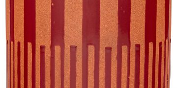 rivet mid century round planter red and orange