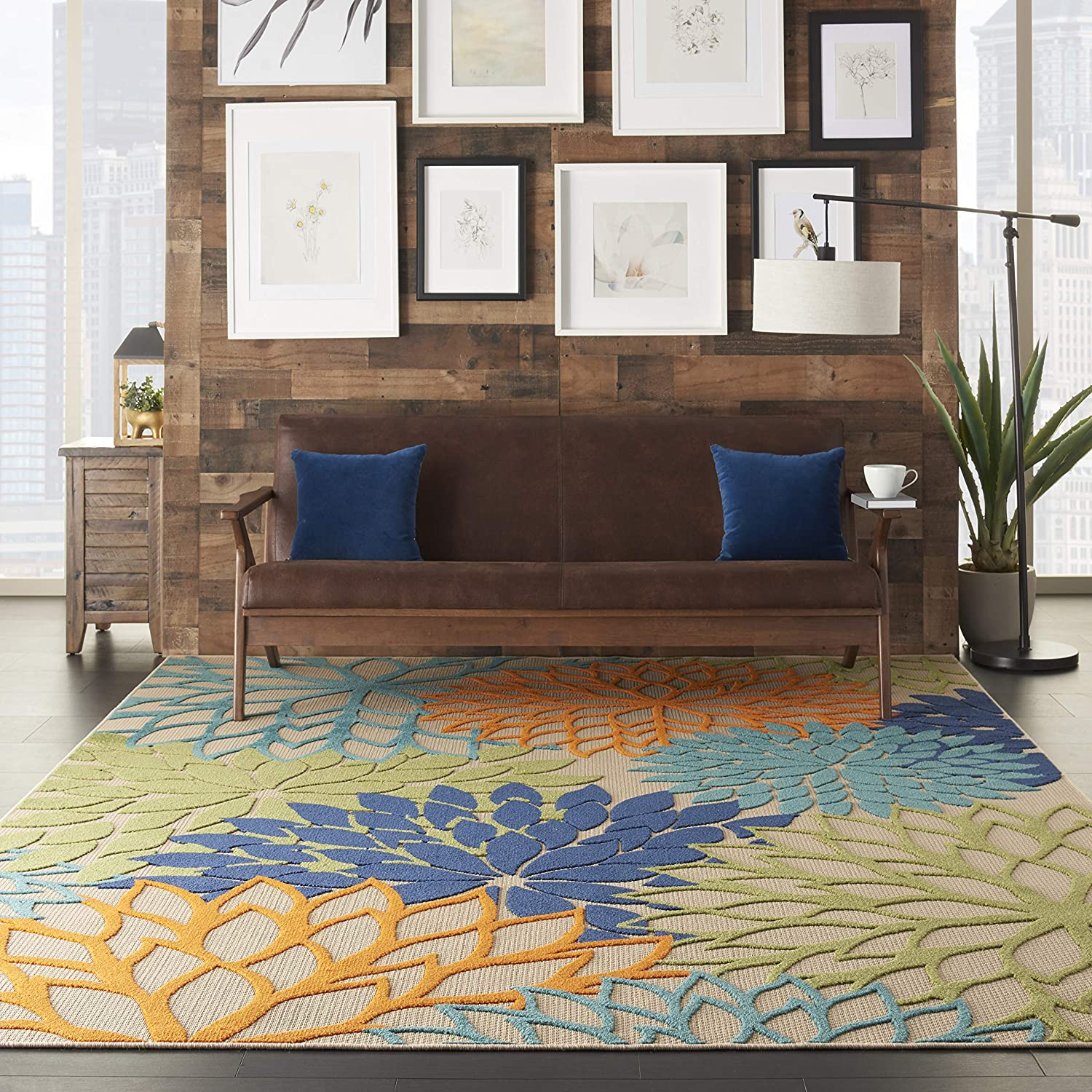 multicolor natural rug with plants