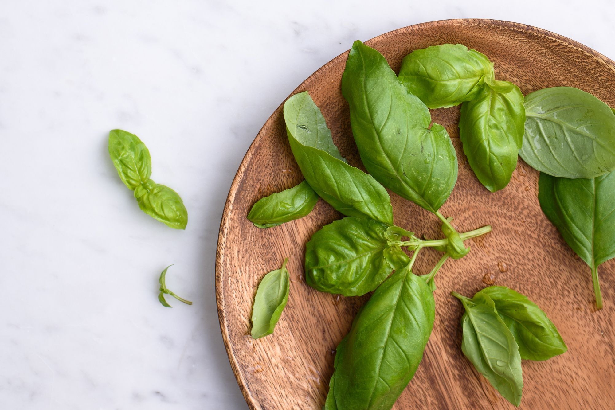 basil leaves on wooden plate