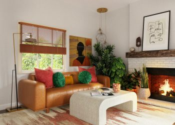 cozy living room with house plants and fireplace