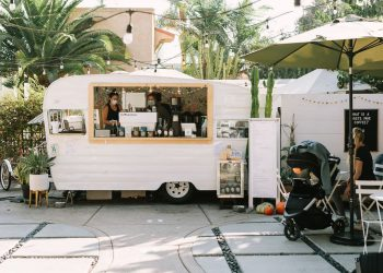 outdoor coffee stand in a plant flower store in san diego
