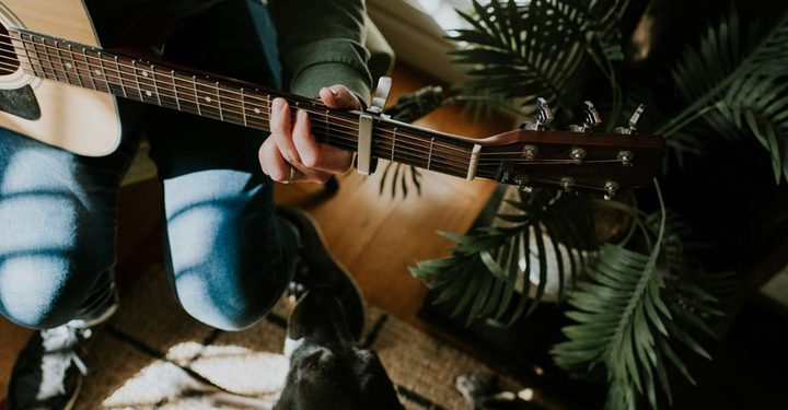 playing guitar next to house plants