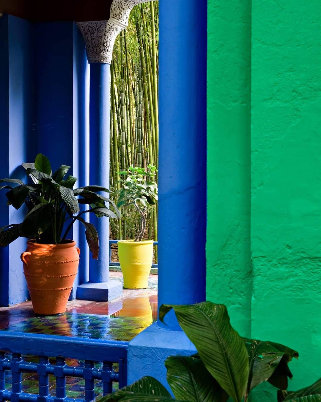 colorful pots added to the color of Jardin Majorelle