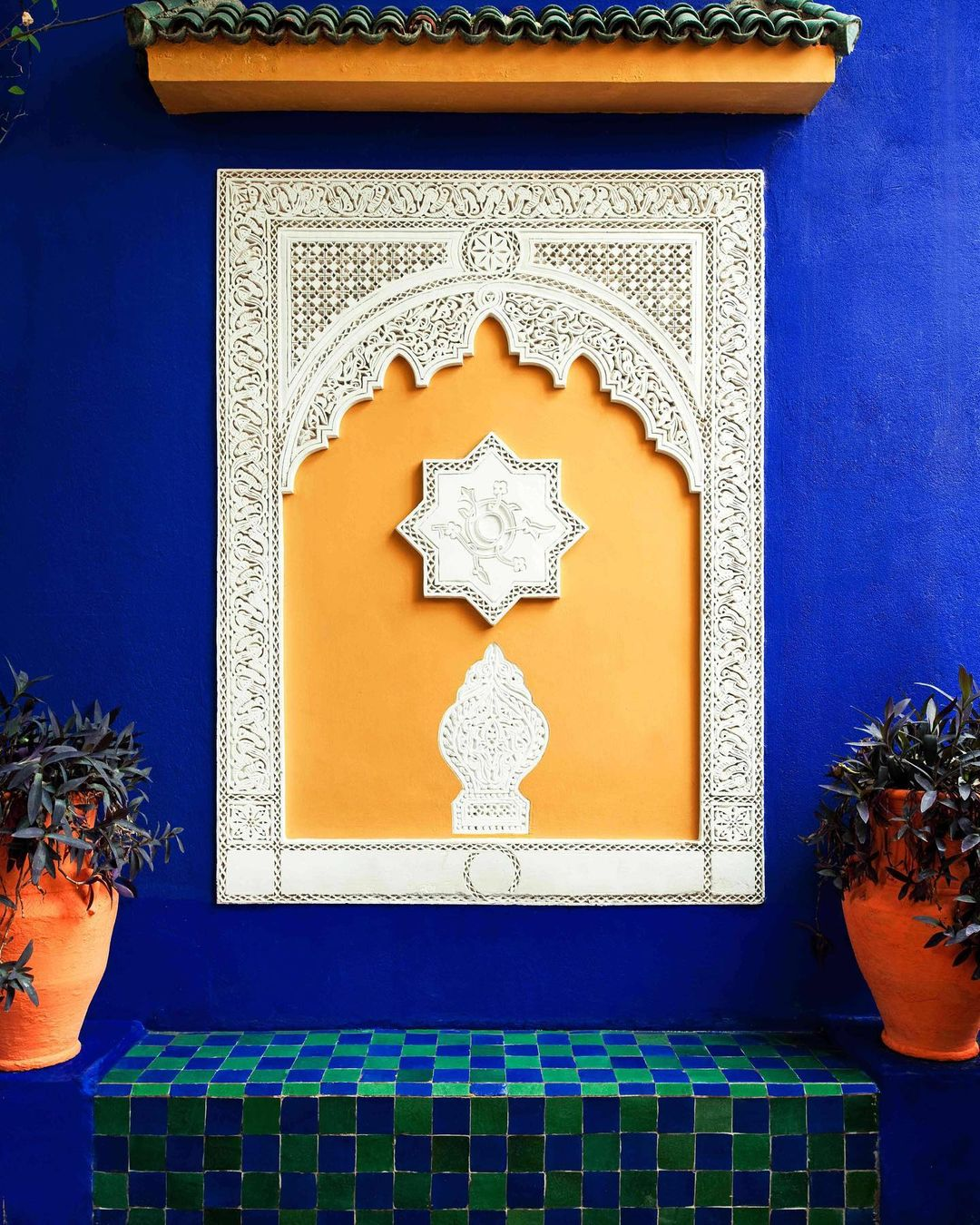 art piece on the wall of the Majorelle