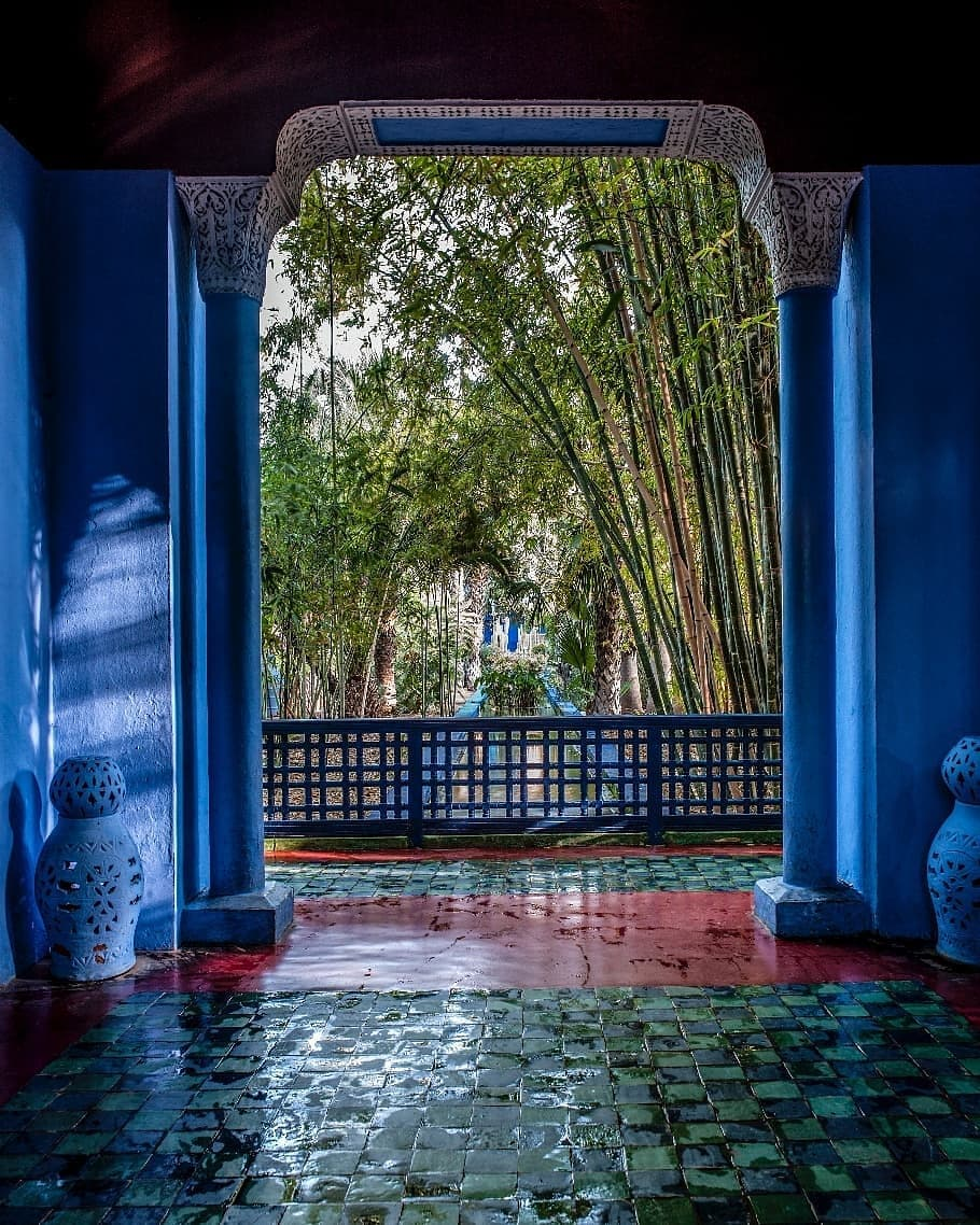 a view from the inside of the Majorelle Marrakech to outdoors garden