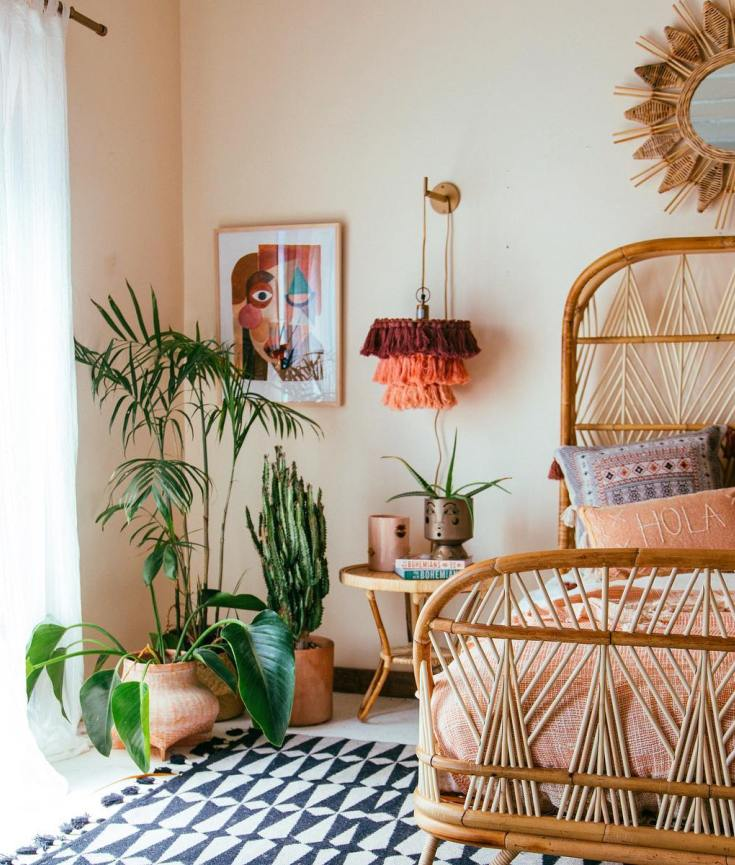 rattan furniture boho themed bedroom