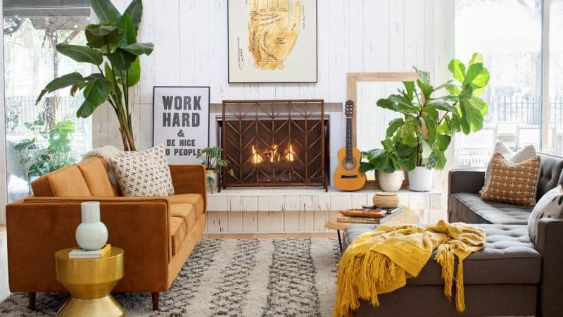 mustard color accent furniture with earthy color living room decoration