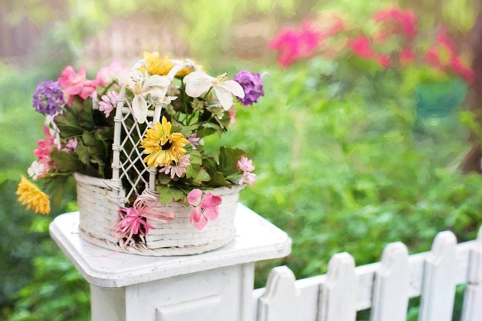 horizontal flower arrangement in a basket