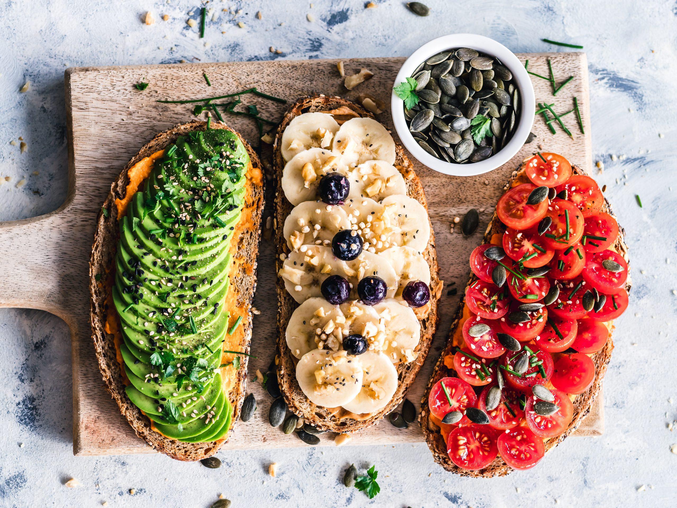 avocado toast, banana and blueberry toast, cherry tomato toast